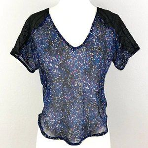 ANTHRO STARING AT STARS CROP FLORAL LACE TOP SZ S
